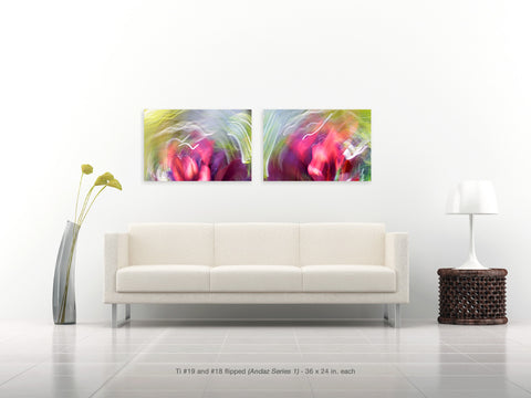 Ti #8 and #7 Diptych from the Andaz Series 1 by Shane Robinson with modern white sofa, 36x24 each