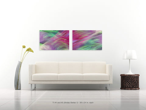 Ti #4 and #5 Diptych from the Andaz Series 1 by Shane Robinson over white sofa