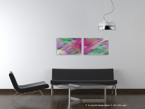 Ti #4 and #5 Diptych from the Andaz Series 1 by Shane Robinson over black sofa