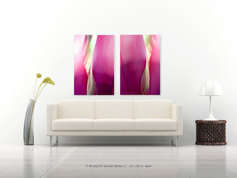 Ti #8 and #7 Diptych from the Andaz Series 1 by Shane Robinson with modern white sofa, 30x45 each