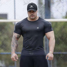 Charger l'image dans la galerie, Compression Quick dry T-shirt Men Running Sport Skinny Short Tee Shirt Male Gym Fitness Bodybuilding Workout Black Tops Clothing