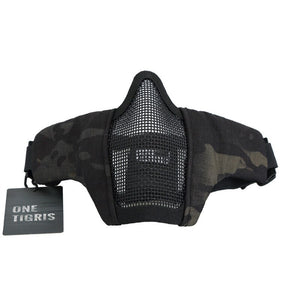 OneTigris Tactical Foldable Half Face Mask Protective Mesh Mask for Airsoft Paintball with Adjustable and Elastic Belt Strap