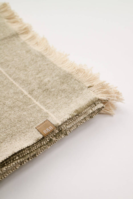 Brushed Cotton Wild Stripe Throw- Taupe & Khaki Green