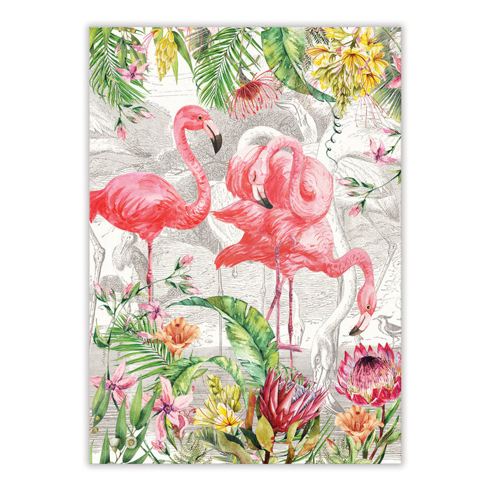 Flamingo 100% Cotton Tea Towel
