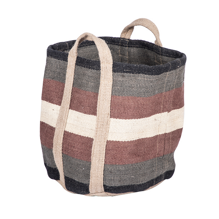 Jute Wide Stripe Bag- Blue/Black