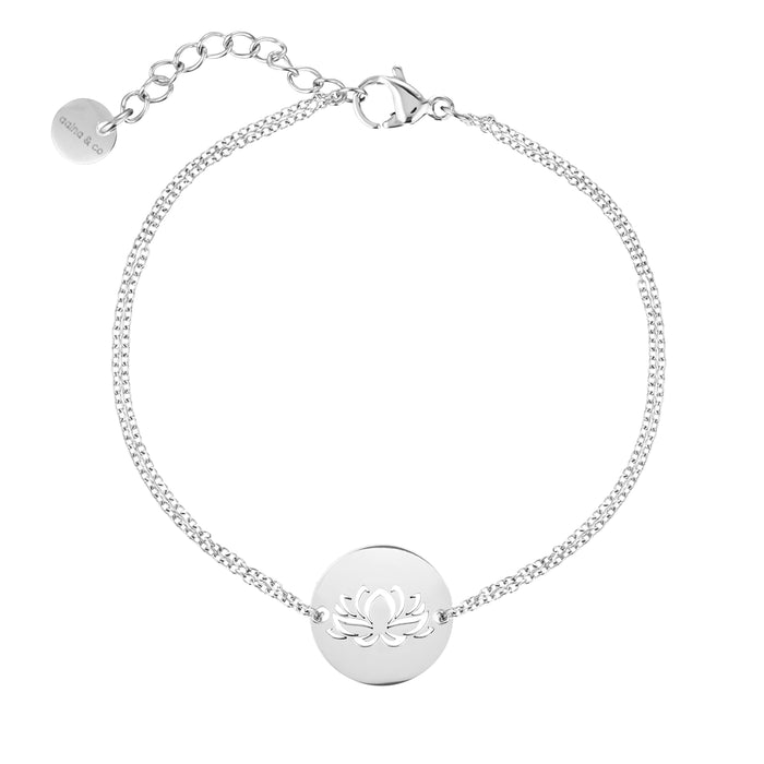 Lotus Diamond Cut Chain Bracelet- Silver