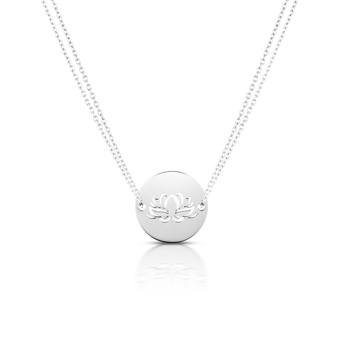 Lotus Diamond Cut Chain Necklace- Silver