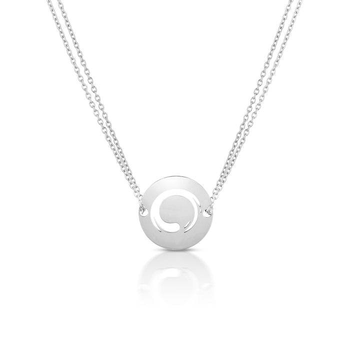 Zen Circle Diamond Cut Chain Necklace- Silver