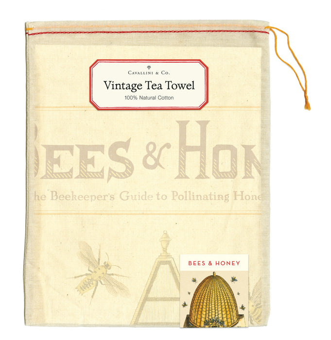 Vintage Cotton Tea Towel in Muslin Bag