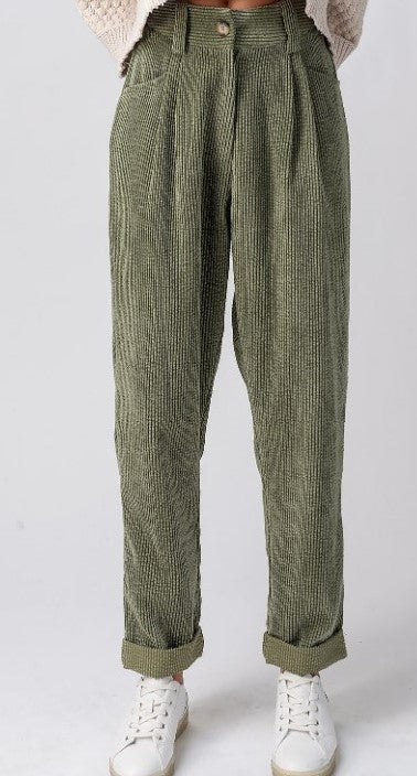 Olive corduroy pants with button and zip closure, front pockets, and cuffed at ankle