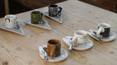 Two sets of Espresso Sets on the table