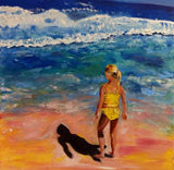 Beach Girl in Yellow 30x24 Original Oil Painting $995