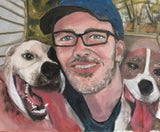 His Two Best Friends 16x20 Original Oil Painting $870