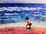 Little Girl in the Pink Sand Greeting Card