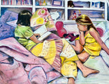 Big Sister Reading to Her Littler Sister 36x48 Original Oil Painting $1,975