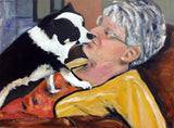 Mom and Puppy Dog Kissing Wife 18x24 Original Oil Painting $710 SOLD