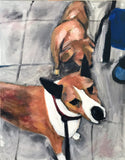 Two Pooches 18x24 Original Oil Painting $950 SOLD