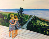 Two Adorable Granddaughters 16 x 20 Original Oil Painting $650 SOLD