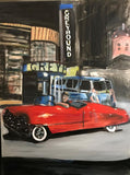 Greyhound Bus Station by Marlene Kurland 30x40 Original Oil Painting $1,400 SOLD
