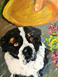 Mr. Luke St. Pierre & His Cheeseburger Treat 24x18 Original Oil Painting $675 SOLD