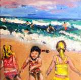 Girls having fun on the beach 11x14 Original Oil Painting $345 SOLD