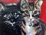 Two Adored Kitties, Loveable Cats, Cat Portraits 11x14 Original Oil Painting $310 SOLD