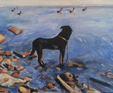 Gorgeous Pooch Gazing at the Ducks 18x24 Original Oil Painting $675 SOLD