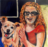 Beautiful Daughter and Smiling Dog 20x20 Original Oil Painting $625 SOLD