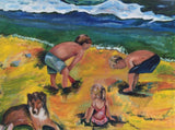 Three children playing in the sand 38x 48 Original Oil Painting $1,600 SOLD