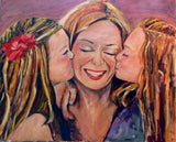 His Three Girls Children Kissing Mom 24x30 Original Oil Painting $910 SOLD