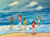 Five Joyful Kids 10x20 Original Oil Painting $475 SOLD