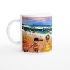 Girls having fun on the beach Mug