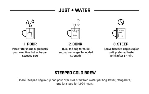 Steeped Coffee Instructions. Just Add Water. Pour. Dunk. Steep. Enjoy.