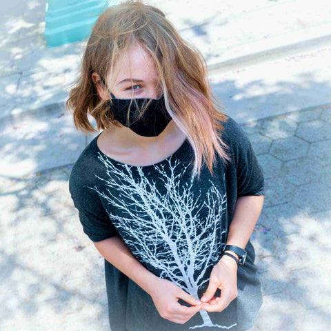 Girl wearing a My BFF Mask hoping it will protect her.
