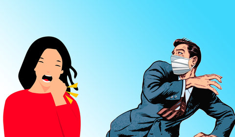 A woman coughs without a mask and a man wearing a mask jumps back in fear of his safety.