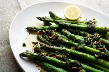 Grilled Asparagus with lemon, capers, flaked almonds & fresh herbs