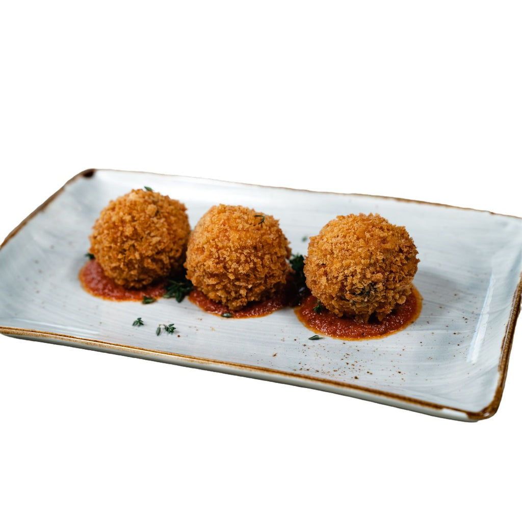 Arancini with tomato, basil and bocconcini