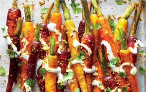 Honey Roasted Baby Carrots with harissa, tarragon, mixed grains & lemon yogurt