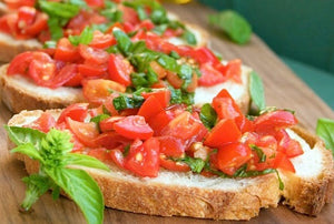 Bruschetta with tomato, basil & marinated capsicum