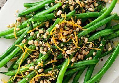 Green Bean Salad, buckwheat & lemon yogurt