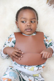 vegan leather bib #cinnamon
