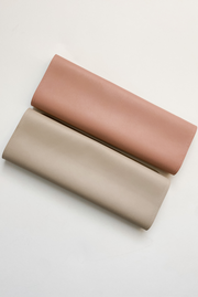 pink and ivory vegan leather mat