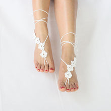 Load image into Gallery viewer, Fashion Women Crochet Flower Barefoot Sandals Anklet Chain