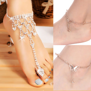 Fashion Women Rhinestone Barefoot Sandal Beach Wedding Party Foot Anklet