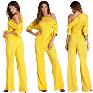 Solid Off Shoulder Loose Jumpsuits