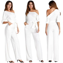 Load image into Gallery viewer, Solid Off Shoulder Loose Jumpsuits