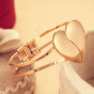 Women Gold Plated Cuff Bangle Heart Bracelet