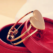 Load image into Gallery viewer, Women Gold Plated Cuff Bangle Heart Bracelet