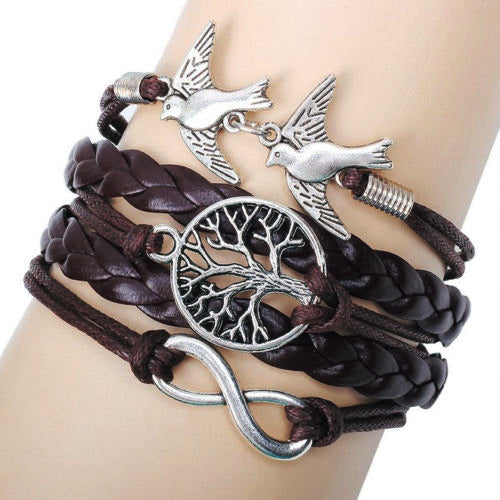 Vintage Multilayer Double Birds Infinity Charm Bracelet