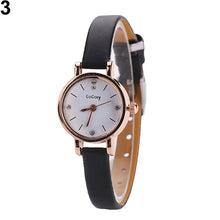 Load image into Gallery viewer, Fashion Rhinestone Dial Faux Leather Slim Strap Wrist Watch